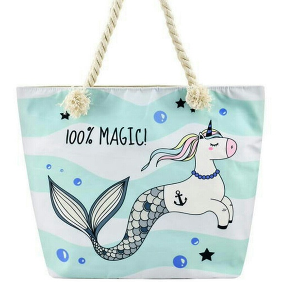 2e19d951c CANVAS TOTE BAGS Bags | Designer Unicorn Mermaid Canvas Tote Bag ...